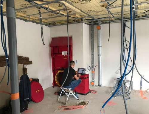 Test de perméabilité à l'air dans nos bâtiments en construction